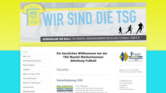 Willkommen auf den neuen Seiten der TSG Weiherhammer Abteilung Fußball!